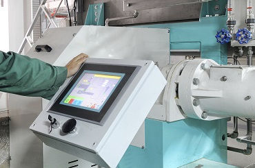 Touch screen used in an industrial or factory environment