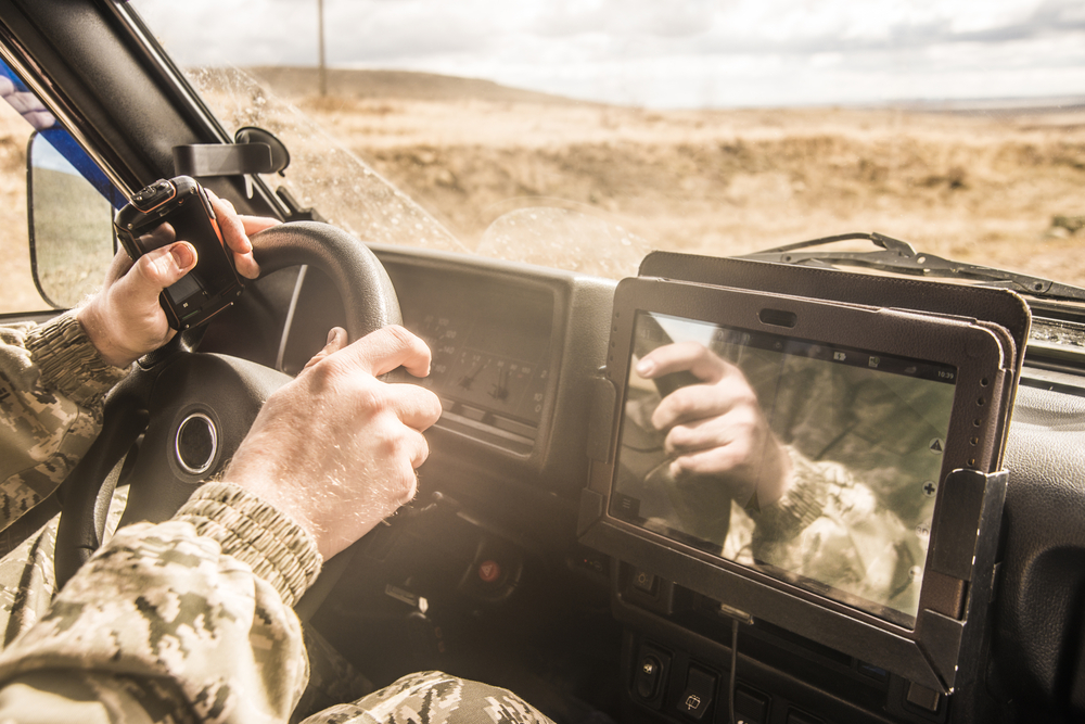 Touch screen used in a military vehicle