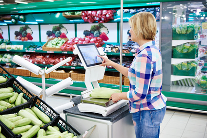 Touch screen used by customer in supermarket